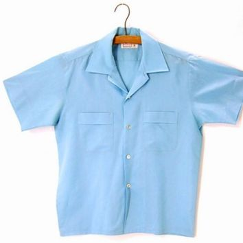 Vintage 50s Rockabilly Shirt Blue Short Sleeve Chest Pockets size Medium