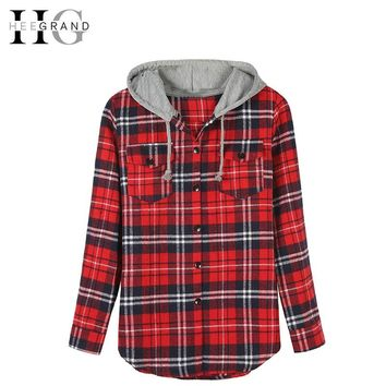 HEEGRAND Plaid Hooded Casual Spring Blouse Women Shirts Tops Full Sleeve Pockets Slim Cotton 2XL Good Quality Blusas WCL563