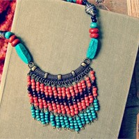 Bold Bib Necklace Native Indian Tribe Style, Turquoise Coral Silver Necklace