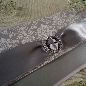 Silver wedding invitation. Rectangular Wedding Invitation Silver and White Wedding invitation handmade with Reply card.
