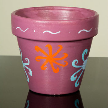 "Hand Painted Flower Pot- 6 Inch Terracotta Pot ""Colorful Flowers"", Birthday, Housewarming, Wedding, Christening Gift- Made to Order"
