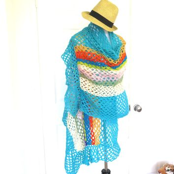 Colorful Fishnet Hand Crochet Spring Shawl