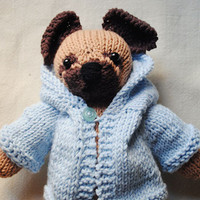 Hand Knit Pug-  Knit Pug Animal Stuffed, with anorak - Knitted toy - Childrens Stuffed Animal Doll