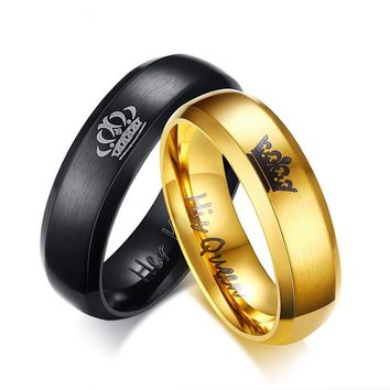 Cool Crown Ring Stainless Steel Queen and King Couple Rings Gold Black Color Lovers Wedding Rings Love Promise Anniversary JewelryAT_93_12
