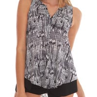 Phoebe's Sleeveless Shirt - Ivory/Black