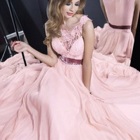 A-Line/Princess Scoop Neck Floor-Length Chiffon Prom Dress With Lace Sash