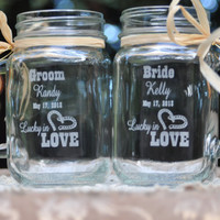 Western Wedding Ceremony -  Lucky in Love Mason Jar Mugs - Personalized Bride and Groom Toasting Glasses