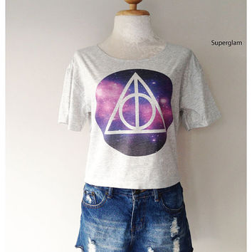 Deathly Hallows Galaxy Harry Potter Film Movie Women Top Wide Crop Fashion T shirt