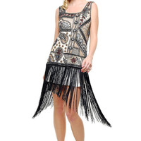 1920's Flapper Style Ivory Contrast Hand Beaded & Fringe Flapper Dress - S to XL - Unique Vintage - Prom dresses, retro dresses, retro swimsuits.
