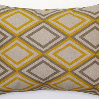 Pillow.Yellow.12x16 inch ONE Decorator Lumbar Pillow Cover.Printed Fabric Front and Back.Housewares.Home Decor.Cushion