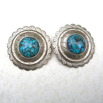 Jewelry Sale Vintage Southwestern Clip On Earrings, Silver Tone, Large 80s Earrings