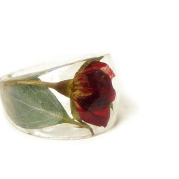Red Rose Ring- Green Ring- Red Flower Ring-Flower Resin Ring -Resin Jewelry -Real Rose Flower Ring Jewelry -Green Jewelry