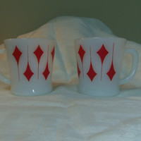 Vintage Fire King Milk Glass Red Kite Mugs, D Handle 1960s, 3.25 inches tall