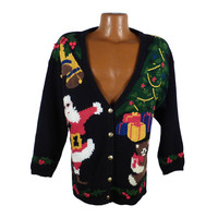 Ugly Christmas Sweater Vintage Tacky Holiday Party Women's Santa Cardigan
