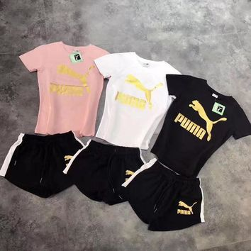 puma fashion sport short sleeve shirt shorts set two piece sportswear  number 2