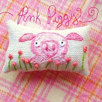 Little Pink Pig Hand Embroidered Pillow Custom Made by YelliKelli