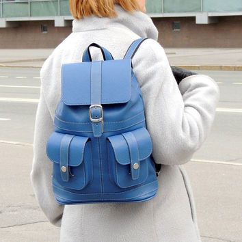 "Blue leather women backpack ""Ultramarine"""