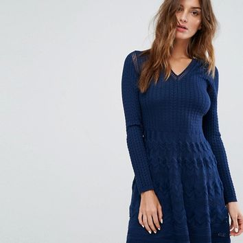 M Missoni Long Sleeved V Neck Wool Mix Knit Dress at asos.com