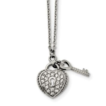 Stainless Steel CZ Heart Lock and Key Pendant Necklace 18in