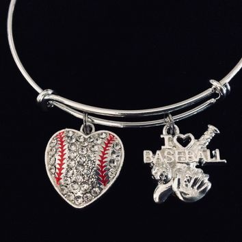 I Love Baseball Jewelry Heart Rhinestone Expandable Charm Bracelet Silver Adjustable Bangle One Size Fits All Baseball Coach Gift