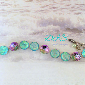 Broken Sea Glass, Swarovski 14 MM Bracelet, Hand Painted Cabs, Light Vittrail, Beach , Bridal, Summer, DKSJewelrydesigns, FREE SHIPPING