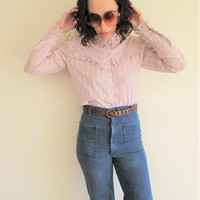 Vintage 70s Colorful Striped Shiny/ Ruffle/ Sweet Western Cowgirl Blouse