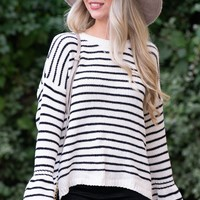 Bella Ivory Striped Chenille Sweater