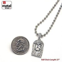 "Jewelry Kay style Men's Iced Out Silver Plated Jesus Pendant 27"" Ball Chain Necklace MMP 802 S"