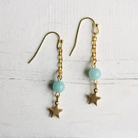 Turquoise Star Earrings ... Milky Aqua Seafoam with Vintage Brass Star Constellation