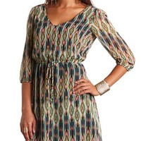 TIE-WAIST AZTEC PRINT DRESS