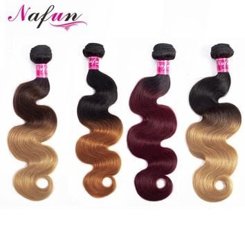 NAFUN Body Wave Ombre Hair Bundles Brazilian Non Remy Human Hair Extensions 1 Piece Deal Can Buy 3 or 4 Bundles Hair Weave