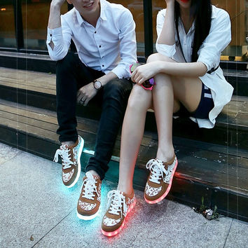 Unisex LED Light Lace Up Luminous Shoes Sportswear Sneaker Luminous Casual Shoes = 1705140356