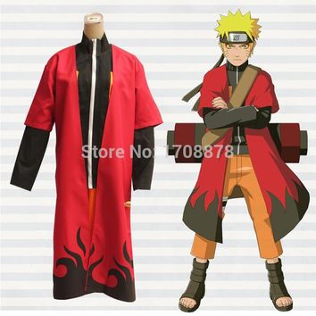 Naruto Sasauke ninja Anime  Shippuden Cosplay Costume Uzumaki Unisex Sage Red Cloak Cape Long Robe Dust Coat Size S M L XL XXL AT_81_8