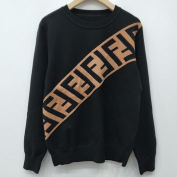 Fendi F Striped Color Letter Round Neck Collar Knitted Sweater-13