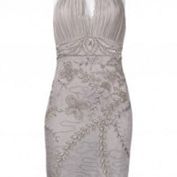 Sue Wong N3379 Platinum Silver Cocktail Dress