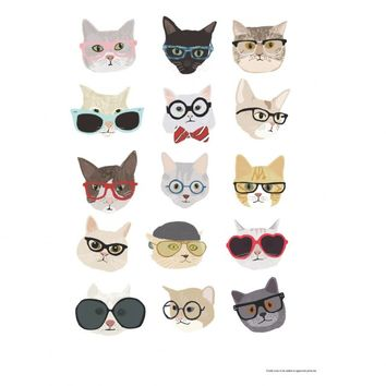 CATS IN GLASSES 30 x 40cm print by Hanna Melin | Buy now at Habitat UK