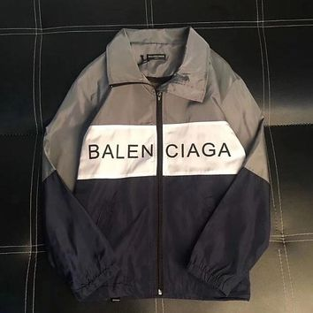 BALENCIAGA spliced vintage stand-up collar jacket for couples' casual, monogrammed jacket