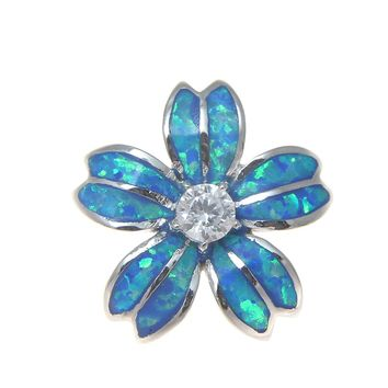 INLAY OPAL 925 STERLING SILVER HAWAIIAN PLUMERIA FLOWER CZ SLIDER PENDANT