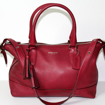Coach Molly Legacy Leather Satchel Black Cherry Red #21132