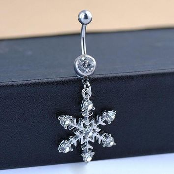 ac DCCKO2Q Fashion Women Body Jewelry White Snowflake Rhinestone Diamante Navel Belly Button Ring Punk Piercing Accessories Christmas Gift