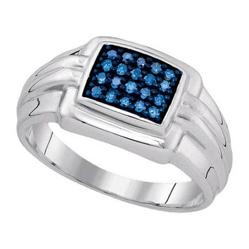 925 Sterling Silver White 0.25CTW-BLUE DIAMOND MENS RING