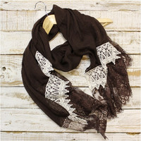 Lace Scarf, Scarves, long, Chocolate brown | SC3