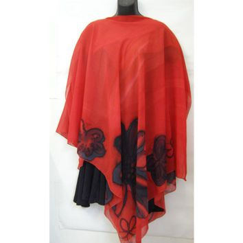 Silk Poncho In Coral Red