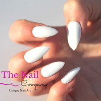 Set of Glossy White Fake Nails -  Handpainted False Nails - Choose Stiletto Nails, Oval Nails or Square Nails - Artificial Nails -  Nail Art