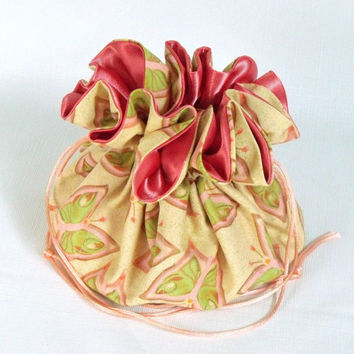 Jewelry Drawstring Travel Pouch Dancing Butterfly by Free Spirit Extra Large in Coral