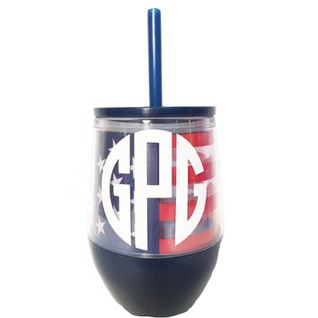Monogrammed American Flag Acrylic Stemless WIne Glass with Lid and Straw