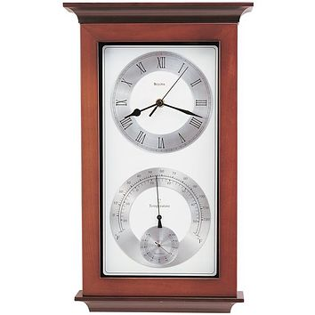 Bulova Yarmouth Maritime Wall Clock  with Hygrometer and Thermometer