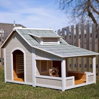 Precision Pet Products Outback Savannah Dog Home with Porch, 63.4 by 40.2 by 41.5-Inch, Cream and Gray