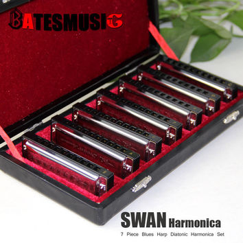 Harmonica SWAN Bluesband 7 Piece Blues Harp Diatonic Harmonica  sell by Set  Case + wipes professional harmonica