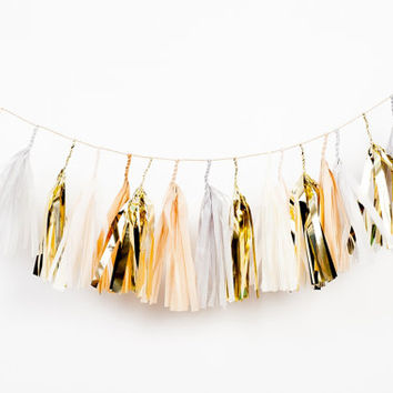 Mini Golden Grey Tassel Garland (Gold and Neutrals)